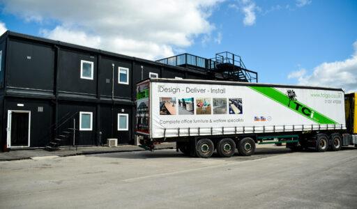 tci-fors-delivery-trailer-haulage-royal-albert-dock-multiplex-premier-modular